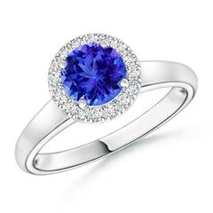Classic Round Tanzanite and Diamond Halo Ring