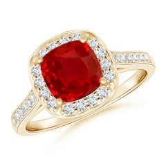 Classic Cushion Ruby and Diamond Halo Ring (GIA Certified Ruby)
