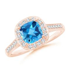 Vintage Cushion Swiss Blue Topaz Ring with Diamond Halo