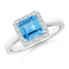 Classic Square-Cut Swiss Blue Topaz Halo Ring