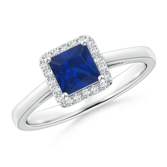 Classic Square-Cut Blue Sapphire Halo Ring