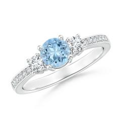 Classic Three Stone Aquamarine and Diamond Ring