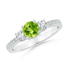 Classic Three Stone Peridot and Diamond Ring