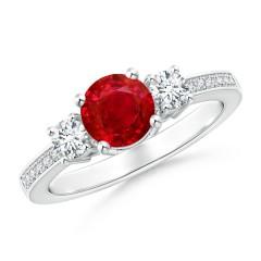 Classic Three Stone Ruby and Diamond Ring