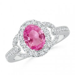 Vintage Inspired Oval Pink Sapphire Halo Ring with Diamond Accents