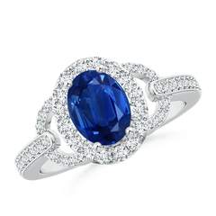 Vintage Inspired Oval Blue Sapphire Halo Ring with Diamond Accents
