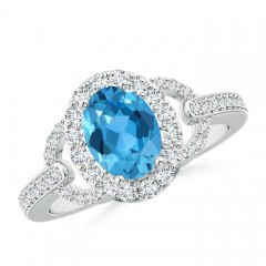 Vintage Inspired Oval Swiss Blue Topaz Halo Ring with Diamonds