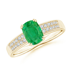 Double Claw-Set Cushion Cut Emerald Ring with Diamond Accent