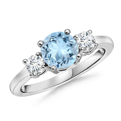 Classic Prong Set Aquamarine and Diamond 3 Stone Ring