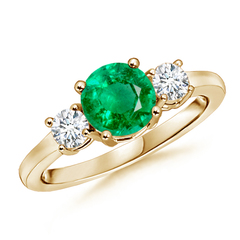 Classic Prong-Set Emerald and Diamond Three Stone Ring