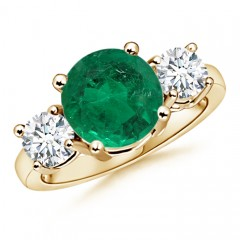 Emerald and Diamond Three Stone Ring (GIA Certified Emerald)