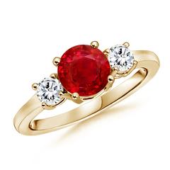 Classic Prong-Set Ruby & Diamond Three Stone Ring
