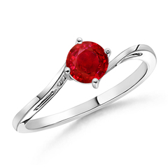Classic Twist Shank Round Solitaire Ruby Ring