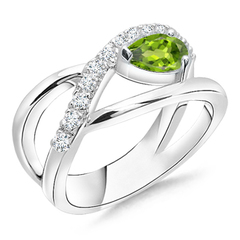 Criss Cross Pear Shaped Peridot Ring with Diamond Accents