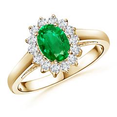 Princess Diana Inspired Emerald Ring with Diamond Halo
