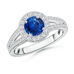 Round Blue Sapphire Split Shank Ring with Diamond Halo
