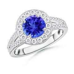 Round Tanzanite Split Shank Ring with Diamond Halo
