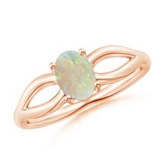 Prong-Set Solitaire Opal Split Shank Ring