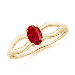 Prong-Set Split Shank Solitaire Ruby Ring