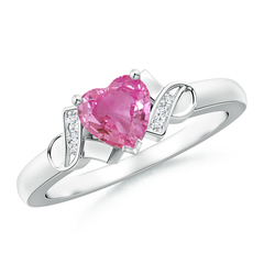 Solitaire Pink Sapphire Heart Ring with Diamond Accents