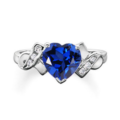 Solitaire Lab Created Sapphire Heart Ring with Diamond Accents