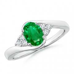 Oval Emerald Bypass Ring with Trio Diamond Accents