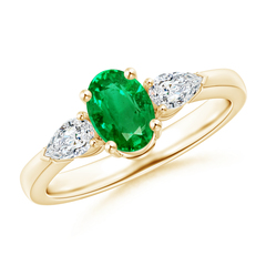 Four Prong Three Stone Oval Emerald and Diamond Ring