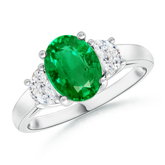 Three Stone Oval Emerald and Half Moon Diamond Ring