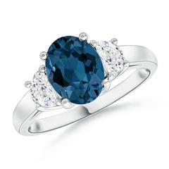 London Blue Topaz and Half Moon Diamond Three Stone Ring
