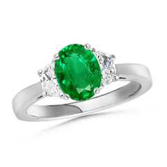 Tapered Shank 3 Stone Oval Emerald and Diamond Ring