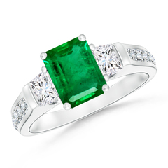 Classic Three Stone Emerald Cut Emerald and Diamond Ring