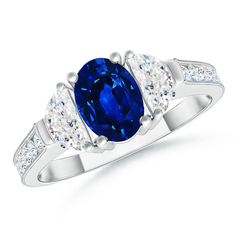 Oval Blue Sapphire and Diamond Three Stone Ring