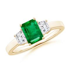 Emerald Cut Emerald and Diamond Three Stone Ring