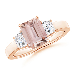 Emerald Cut Morganite and Diamond Three Stone Ring