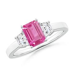 Emerald Cut Pink Sapphire and Diamond Three Stone Ring
