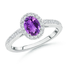 Prong Set Oval Amethyst Halo Ring with Diamond Accents