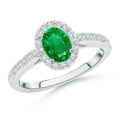 Prong Set Oval Emerald Halo Ring with Diamond Accents