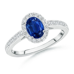 Prong Set Oval Blue Sapphire Halo Ring with Diamond Accents