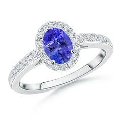 Prong Set Oval Tanzanite Halo Ring with Diamond Accents