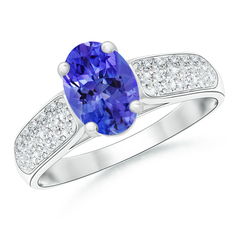 Solitaire Oval Tanzanite Ring with Pave Diamond Accents