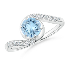 Prong Set Aquamarine Bypass Ring with Diamond Accents