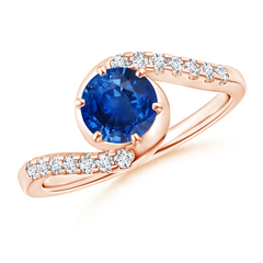 Prong Set Sapphire Bypass Ring with Diamond Accents