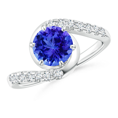 Prong Set Tanzanite Bypass Ring with Diamond Accents