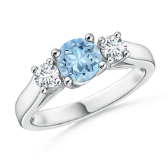 Classic Prong Set Aquamarine and Diamond Three Stone Ring