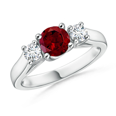 Classic Cathedral Garnet and Diamond Three Stone Ring