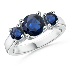Classic Prong Set Sapphire Three Stone Ring