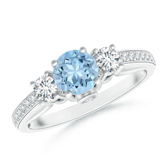 Classic Prong Set Round Aquamarine and Diamond Three Stone Ring