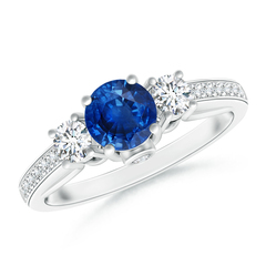 Classic Prong Set Round Blue Sapphire and Diamond Three Stone Ring