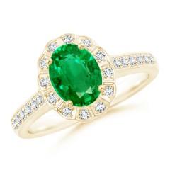 Vintage Style Emerald Diamond Halo Ring