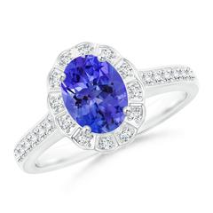 Vintage Style Tanzanite Diamond Halo Ring